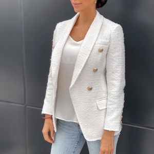 Tweed Long white  Ivory Blazer with Gold buttons